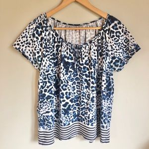 Leopard and stripes tie front shirt